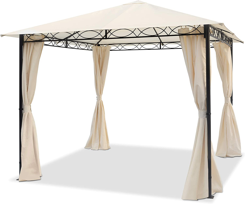 TOOLPORT Cenador de jardín 3x3 m cenador Impermeable con 4 Partes Laterales cenador de jardín 180g/m² Lona de Techo en Carpa de Fiesta Beige: Amazon.es: Jardín