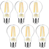 Ascher 60 Watt Equivalent, E26 LED Filament Light Bulbs, Warm White 2700K, Non-Dimmable, Classic Clear Glass, A19 LED…