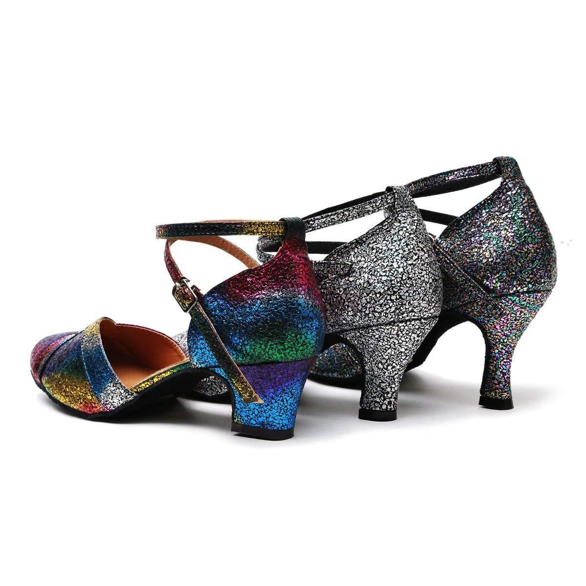Qiusa Damenmode Knöchelriemen Glitter Latin Salsa Tanzschuhe Formale Formale Formale Hochzeit Pumps (Farbe   MultiFarbe Silber-7.5cm Heel Größe   2 UK) 171b08