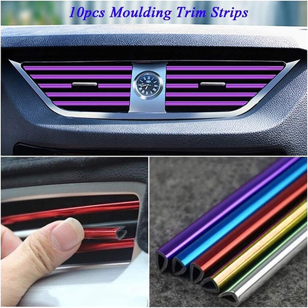 jasminelady 10pc PVC Car Air Conditioner Vent Outlet Trim Decoration Strip Car Shiny Accessories for Women Red