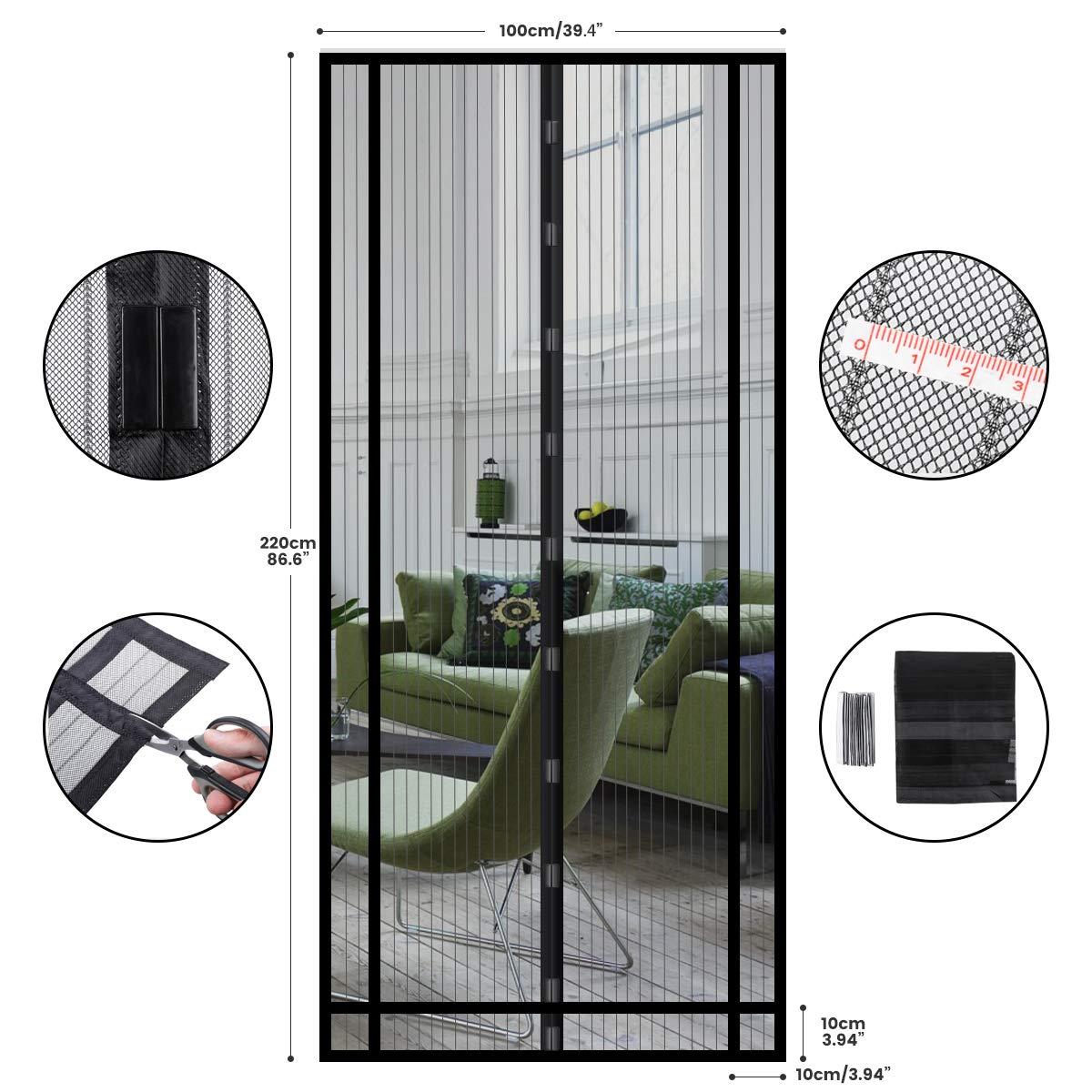 NASUM Rideau Magn/étique Moustiquaire 220 pour porte de balcon//porte patio 100cm avec Sac de Transport