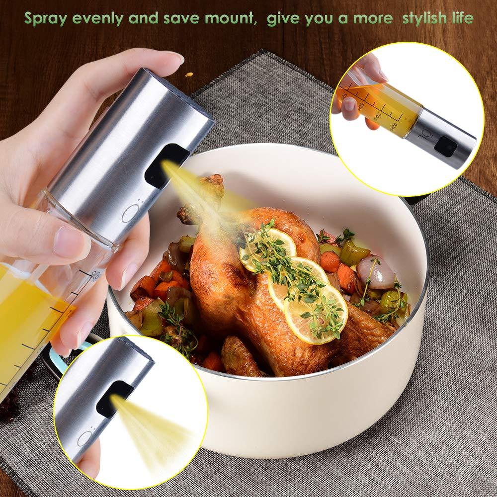Insalata aceto Bottiglia Portatile per Olio da Cucina in Vetro Spruzzatore Olio d/'Oliva per Barbecue Ninonly Spruzzatore per Olio in Acciaio INOX Olio Cottura