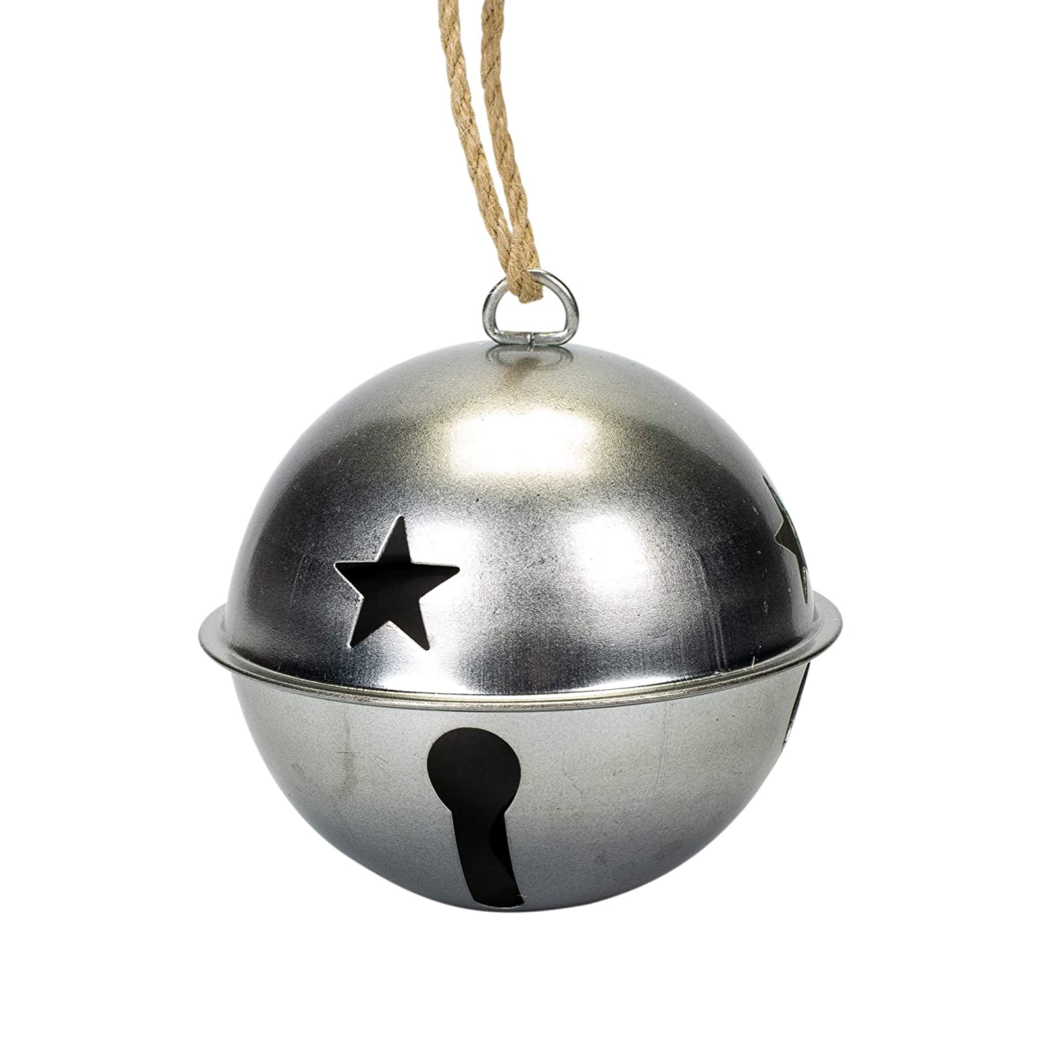 Midwest-CBK Jingle Bell Silver Toned Metal Christmas 3 x 3 Decorative Hanging Ornament