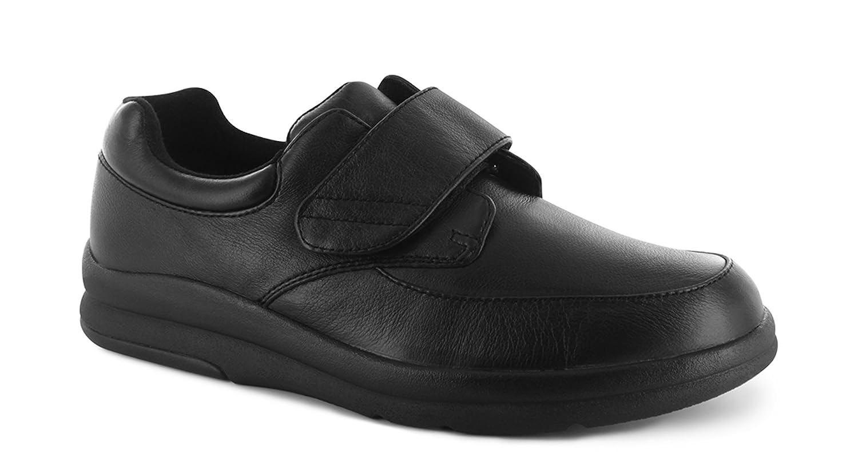 P W Minor Pace Walker Men's Therapeutic Casual Extra Depth Shoe Leather Velcro 10.5 D(M) US|Black