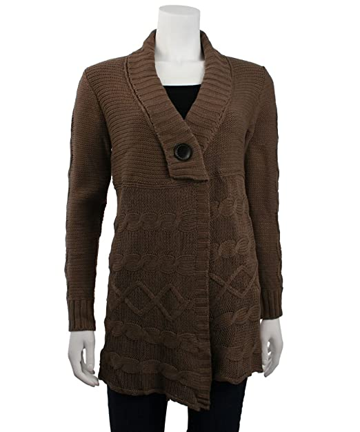 Amazon.com: monoreno cuello Cable Knit chaqueta de punto ...