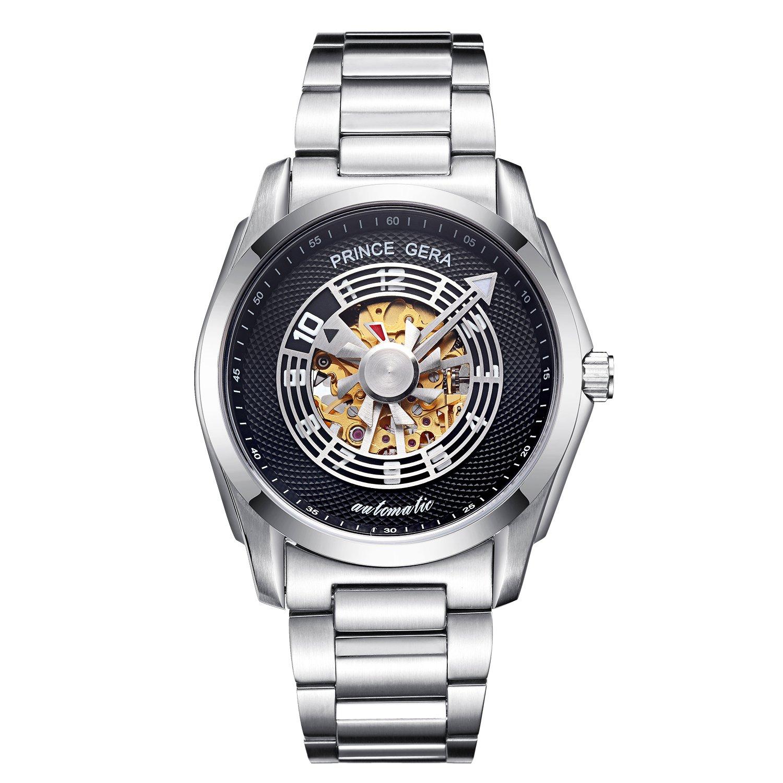腕時計 メンズ PRINCE GERA 自動機械式時計 ユニークなプロペラ秒針 シルバーケース ブラックダイヤル [並行輸入品] B07CNYV3F3シルバーケース+ブラックダイヤル