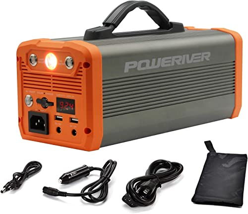 POWERIVER 300W Portable Power Station 222Wh Solar Generator 110V AC Outlet 12V DC Out 5V 3A USB Portable Generator UPS Battery Backup for PC CPAP Laptop RV Camping Emergencies