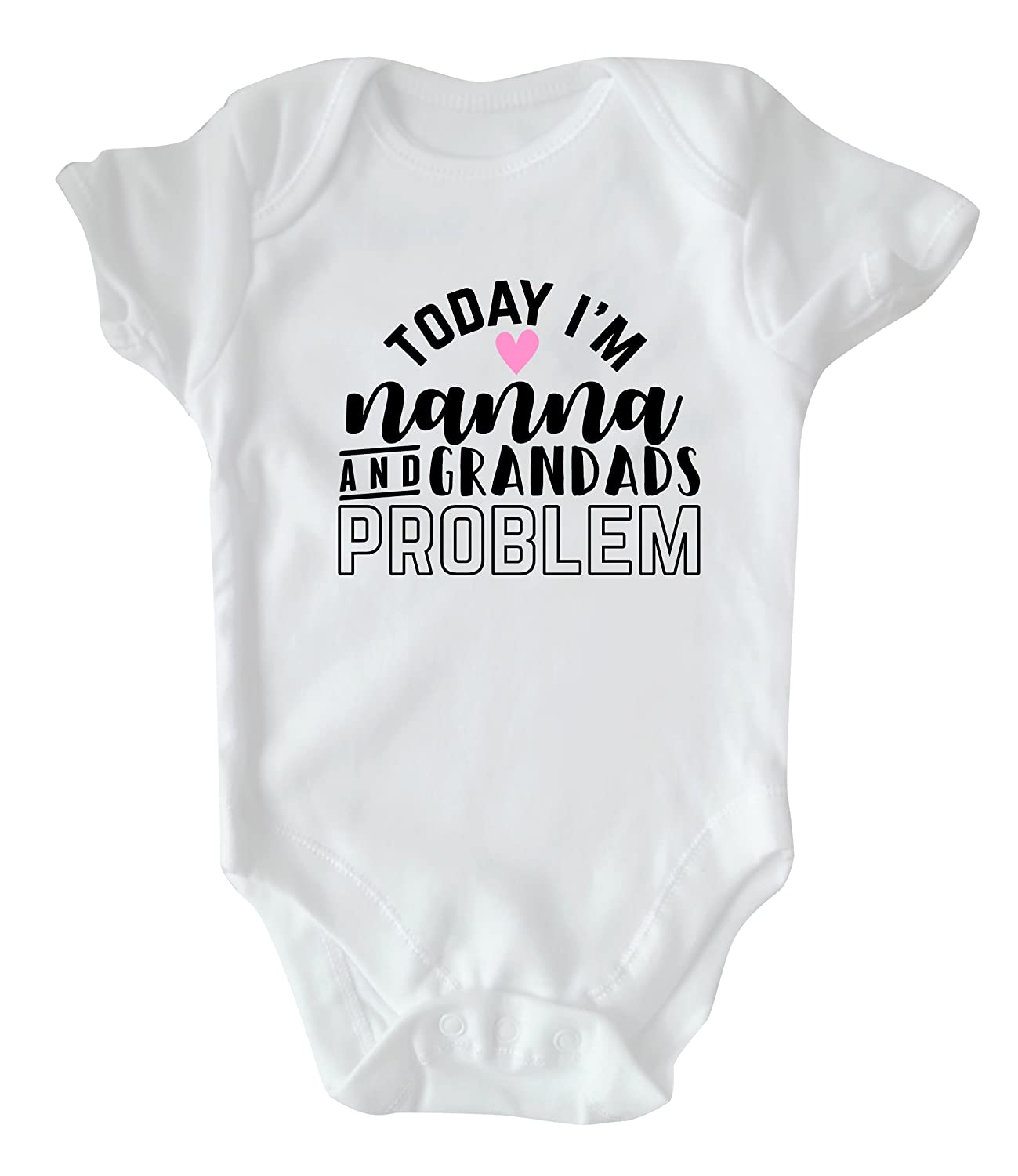 Rock Paper Sisters White Slogan Baby Vest: Today I'm Nanna and Grandads Problem