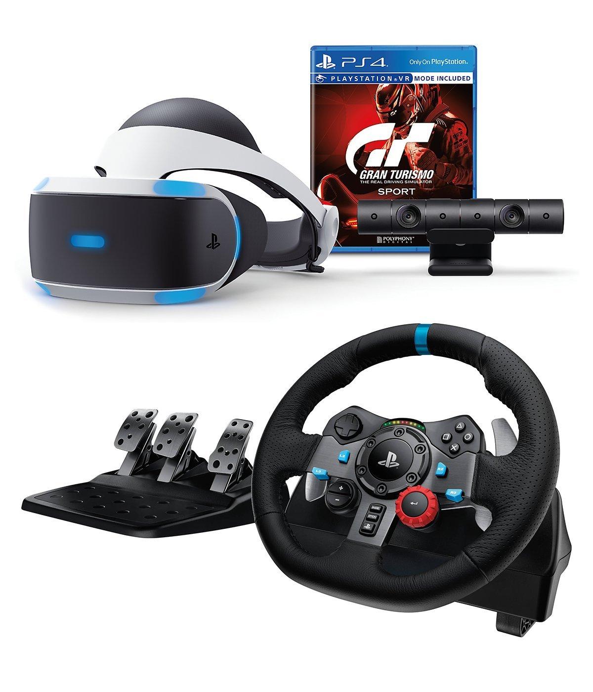 46d790d4de2 Amazon.com: Playstation VR Enhanced Gran Turismo Sport with Logitech  Dual-Motor Feedback Driving Force G29 Racing Wheel (PC + PS4 Compatible)  Bundle: ...