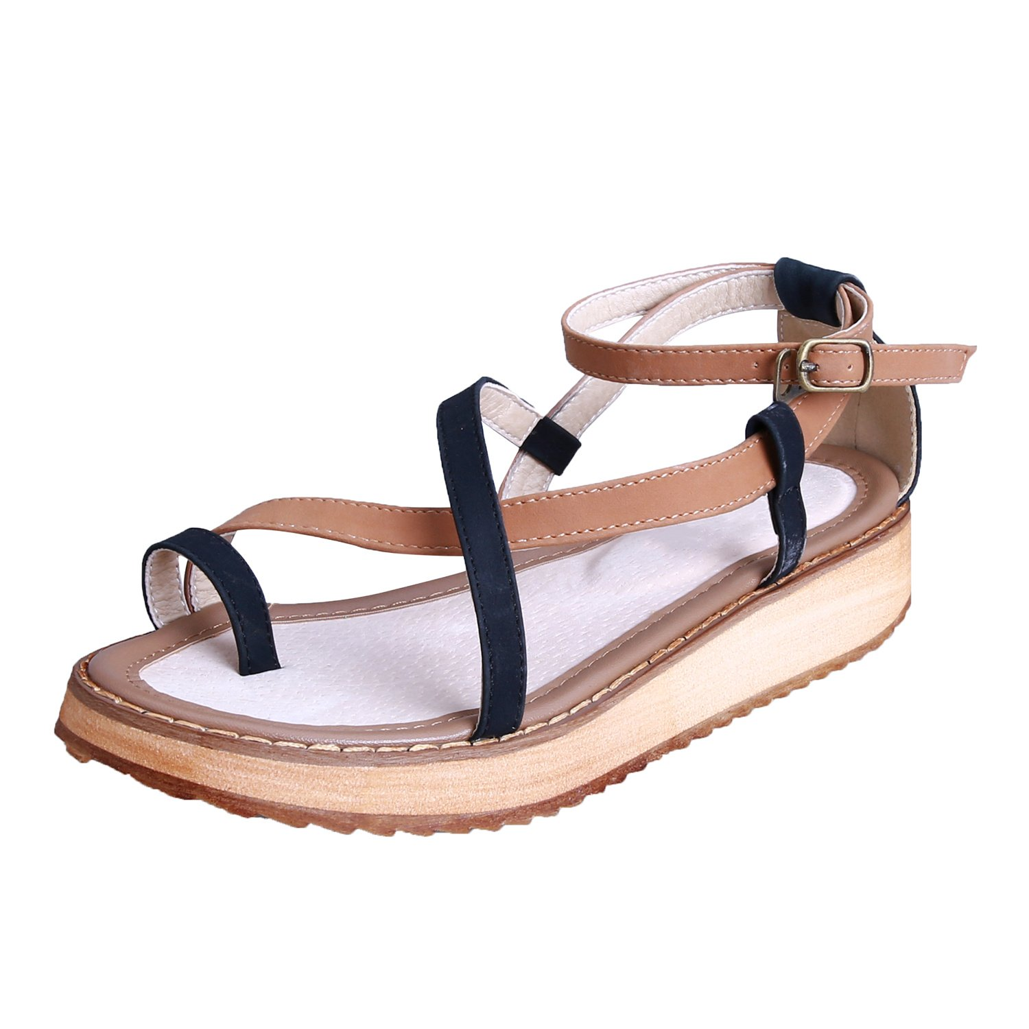 Smilun Girl's Fashion Strappy Roman Sandals Wedge Sandals Flip Flops Thongs Open Toe Sandals Flip Flops Roman Sandal Summer Sandals Black US6