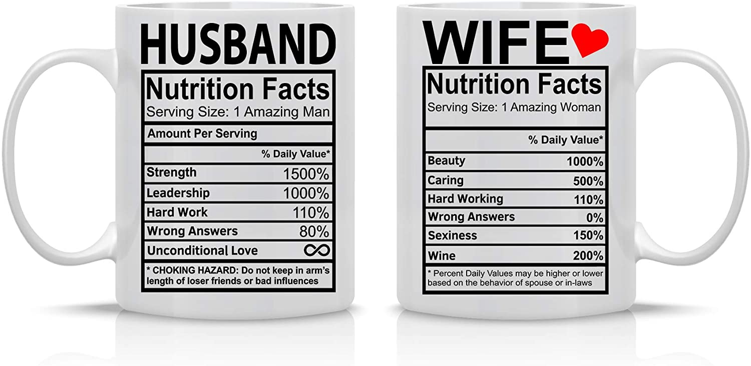 Husband And Wife Nutrition Facts - 11oz Ceramic Coffee Mug Couples Sets - Funny Husband And Wife Anniversary Cups - Couple Gifts For Him And Her - Wedding Engagement Presents - By CBT Mugs