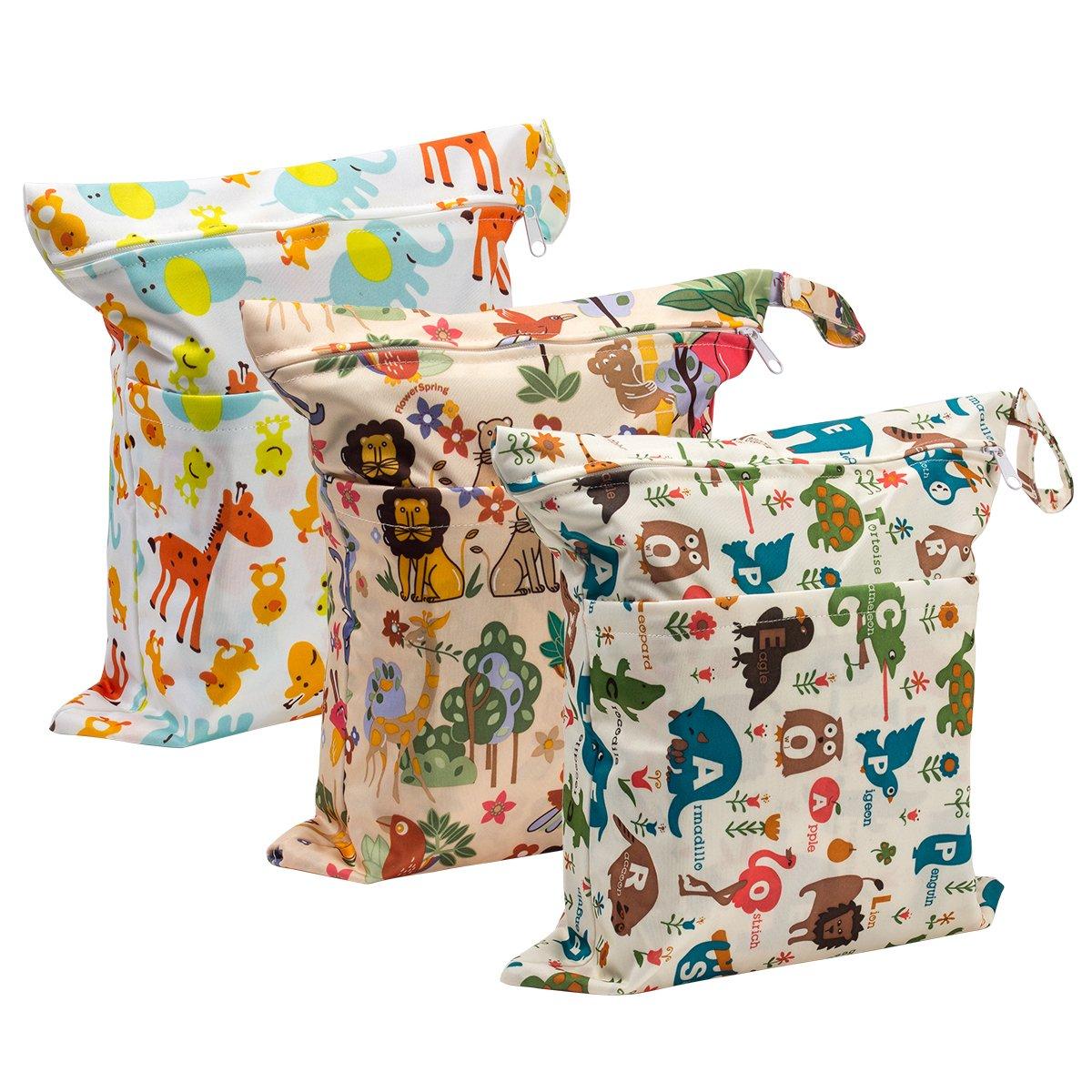 Biubee 3 Pack Wet Dry Cloth Diaper Bags - Baby Waterproof Washable Reusable Hanging Diaper Organizer by Biubee
