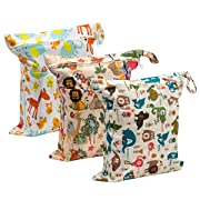 Biubee 3 Pack Wet Dry Cloth Diaper Bags - Baby Waterproof Washable Reusable Hanging Diaper Organizer