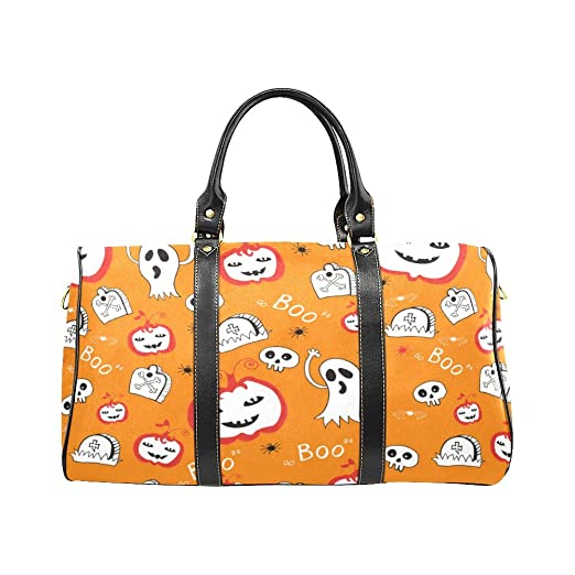 Halloween Pumpkin Skull Large Travel Duffel Bag Weekend Bag Luggage with  Strap 24af5b67146