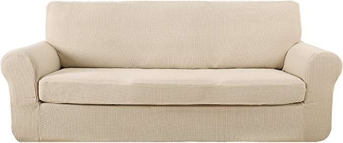 Deconovo 2-Piece Jacquard Spandex Couch Covers Fitted Sofa Protector Cover Stretch Sofa Slipcovers Beige