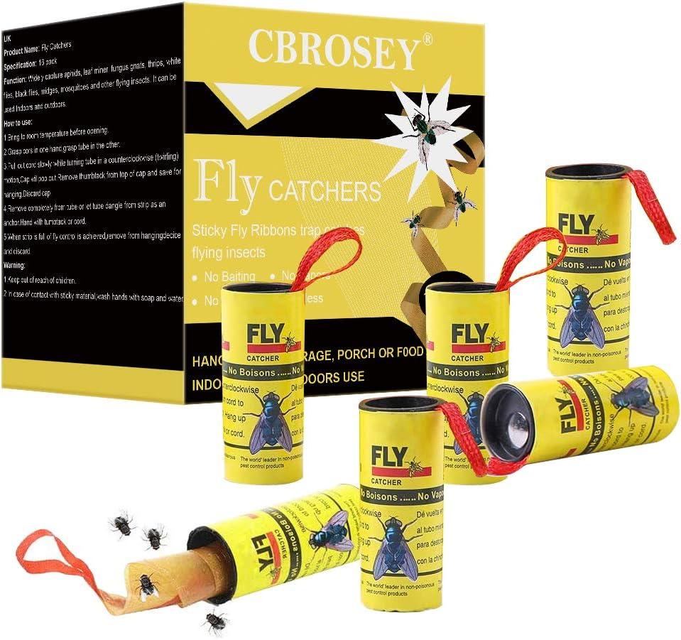 CBROSEY Atrapa Moscas,Trampa Moscas,Caza Moscas,Atrapa Insectos,Adhesivo Atrapa Insectos 16 Rollos Atrapa Moscas para Colgar para Insectos Voladores de Interior y Exterior