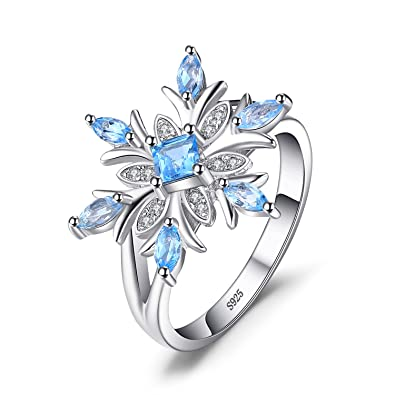 b5530ea860b98 JewelryPalace Snowflake Genuine Swiss Blue Topaz Ring Solid 925 Sterling  Silver Size 6
