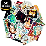 Premium Rick and Morty Stickers Decals - 50 Rick and Morty Laptop Vinyl Stickers - for iPhone Mac Computer Keyboard Car Window Bumper Wall Snowboard Skateboard Luggage Fridge Auto Truck Stickers Pack