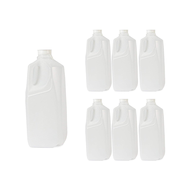Half Gallon Jugs with White Caps - 64oz Empty Plastic Bottles and Lids