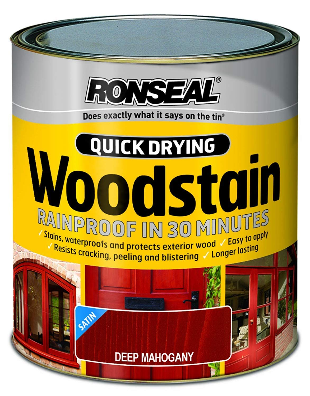 Ronseal QDWSDM250 250ml Woodstain Quick Dry Satin Deep - Mahogany RSLQDWSDM250