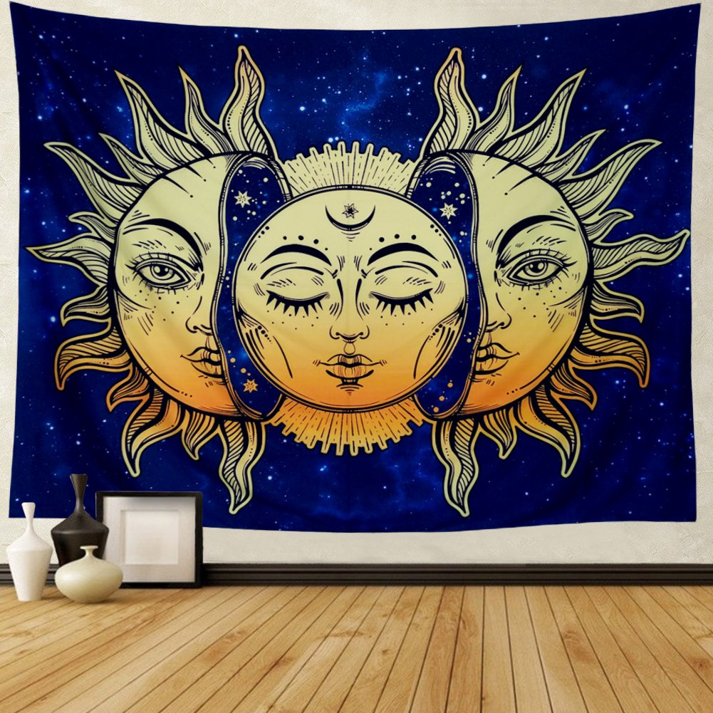 Amonercvita Psychedelic Tapestry Moon and Sun Tapestry Wall Hanging India Hippie Hippy Bohemian Tapestries Starry Sky Wall Tapestry Fractal Faces Mystic Tapestry for Bedroom Living Room Dorm by Amonercvita (Image #2)