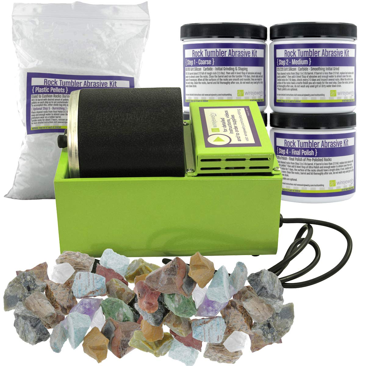 WireJewelry Single Barrel Rotary Rock Tumbler Deluxe Kit, Includes 3 Pounds of Rough Madagascar Stone Mix and 5 Batches of 4 Step Abrasive Grit and Polish by WireJewelry
