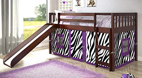 Donco Kids Mission Low Slide Loft Bed Dark Cappuccino/Twin/Zebra Tent