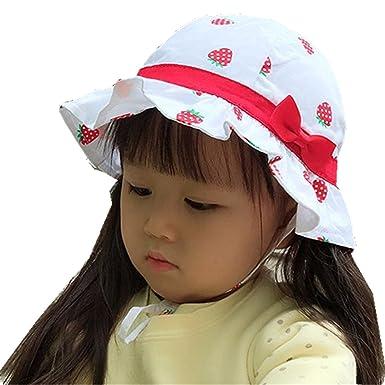 7109e00ff31d Tyidalin Chapeau de Soleil Bebe Fille Anti UV Plage Voyage Bonnet en Coton  a Fleur Floral