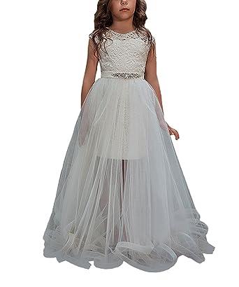 Detachable Train Flower Girl Dress