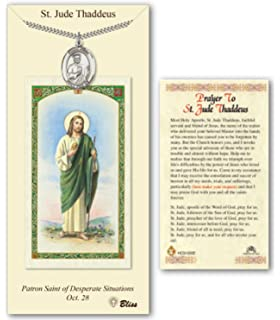 pewter st saint jude thaddeus medal on an 24in stainless silver heavy curb chain with