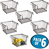 mDesign Open Wire Storage Basket for Kitchen, Pantry, Cabinet - Pack of 6, Large, Bronze