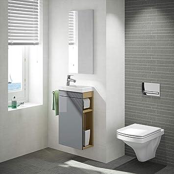 Gäste WC Badmöbel Set, WT Waschbecken mit Unterschrank in weiß oder ...