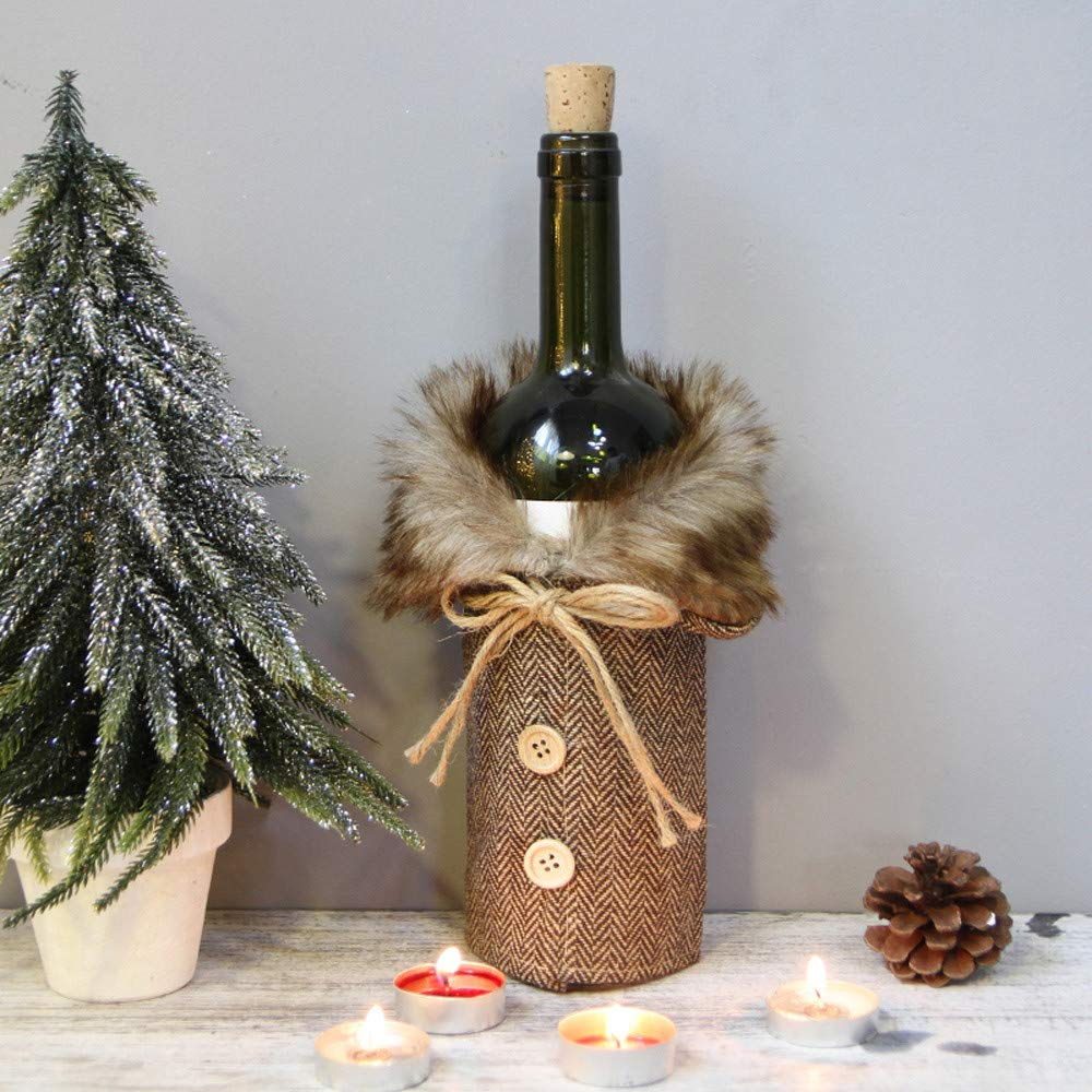 Wine Bottle Cover Cloth Xmas Wine Bottle Cover with Fur On Top Scottish Style Chirstmas Wine Bottle Cover Bag for Christmas Party Table Decoration 1PC