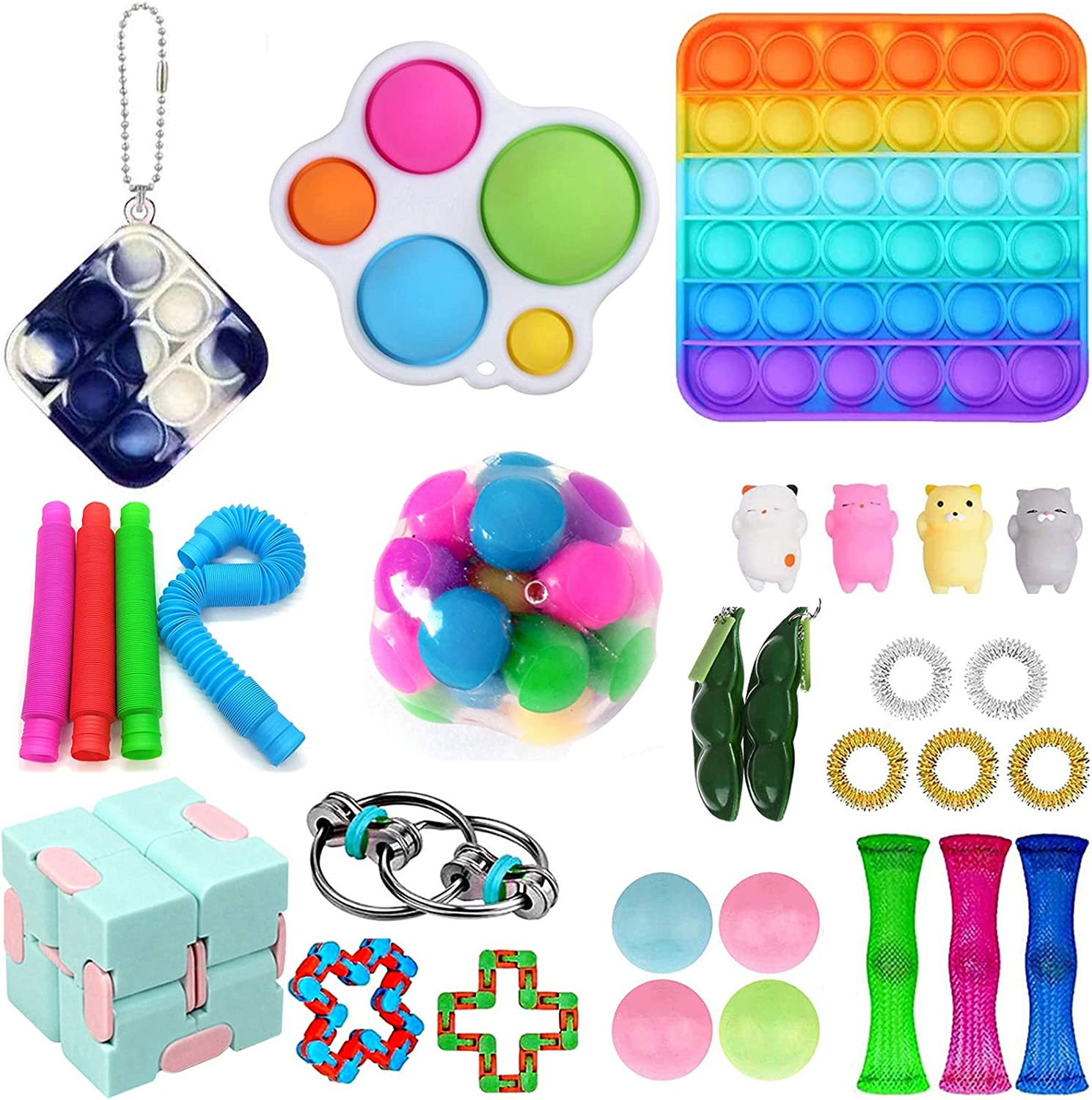 LWXQWDS 30Pcs Fidget Toy Set Fidget Pack Cheap Sensory Relieve Stress and Anxiety Toys for Kids Adults, Fidget Pack with DNA Stress Ball in It, Tie Dye Push Pop Bubble Toy &More (30 Packs)