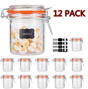 Glass Jars With Airtight Lids,Encheng Mason Jars 8 oz,Glass Jars With Leak Proof Rubber Gasket 250ml,Storage Jars With Hinged Lid for Home and Kitchen,Glass Containers With Lids 12 Pack