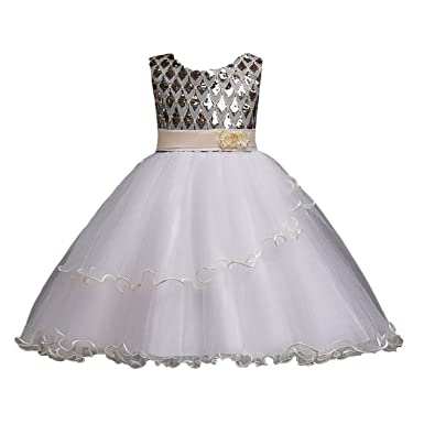 e87e28abbe Amazon.com  ylovego New Arrival Princess Sequined Flower Girl Dresses 2018  Organza Girls Pageant Dresses First Dresses Party Gown  Clothing