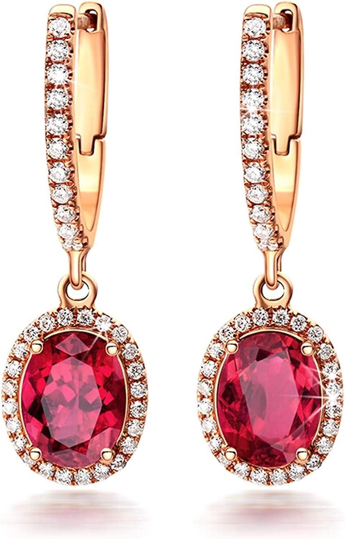 ANAZOZ 18K Oro Rosa Pendientes Mujer Pendientes Mujer Oval Turmalina Roja Blanca 2ct