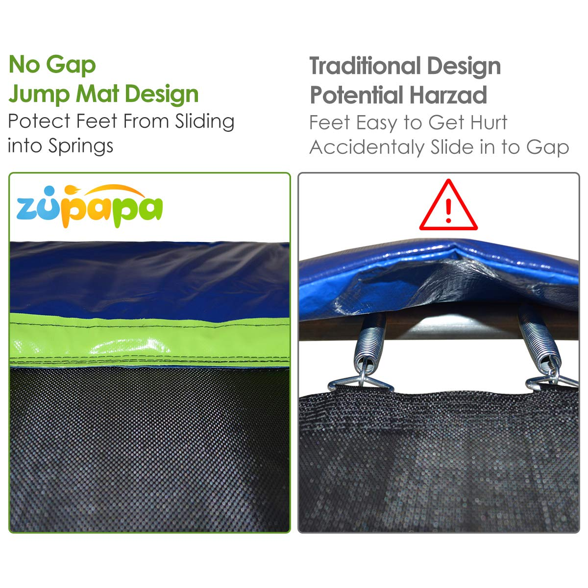 Zupapa 15 14 12 Ft TUV Approved Trampoline with Enclosure Net and Pole and Safety Pad and Ladder and Jumping Mat and Rain Cover 108 Springs Size 15 Feet by Zupapa (Image #3)