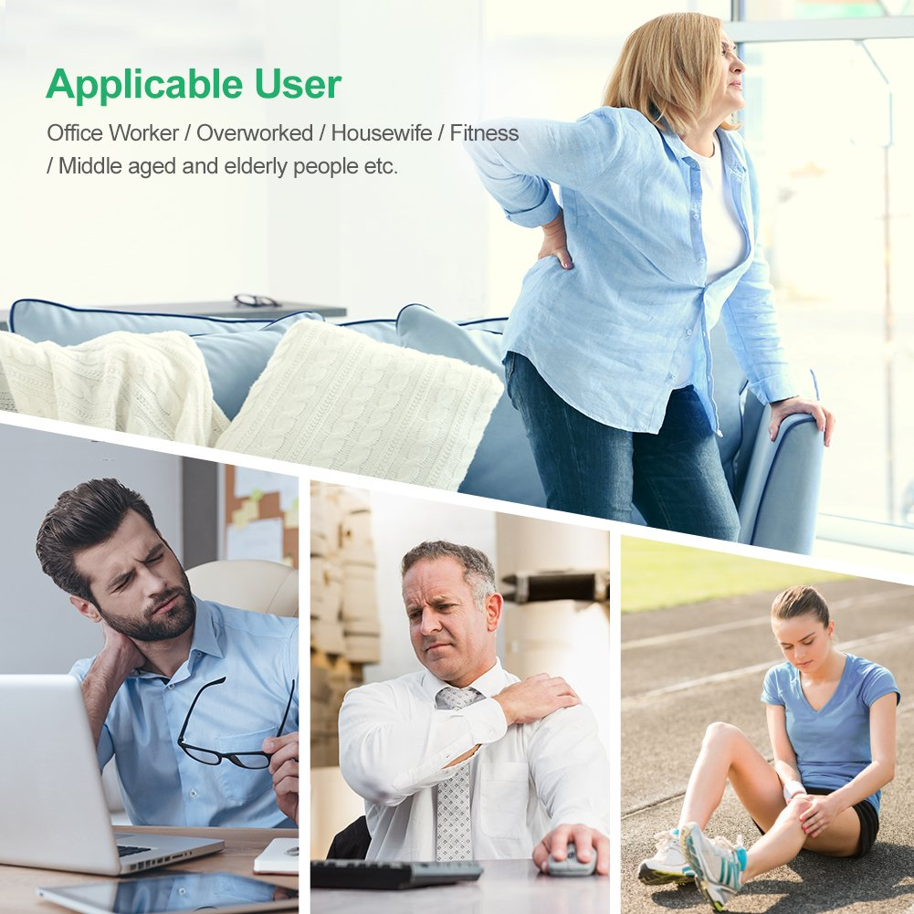 AUVON Rechargeable TENS Unit Muscle Stimulator, 2nd Gen16 Modes TENS Machine with Upgraded Self-Adhesive Reusable TENS Electrodes Pads (2''x2'' 12pcs, 2''x4'' 2pcs) by AUVON (Image #8)
