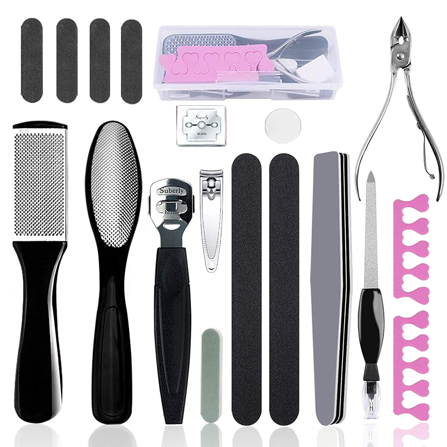 Pedicure Kit Set 18 in 1, Doni Foot Scrubber Pedicure Tools Set, Stainless Steel Foot Care Tools, Foot Rasp, Foot Dead Skin Remover, Callus Remover for Feet, Pedicure Kit for Men Women Gift