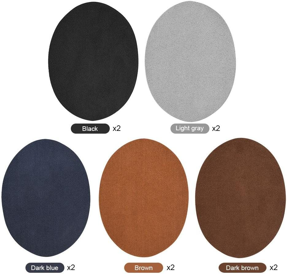 10pcs 5 Colors Repair Patches, Oval PU Leather Patches Elbow Knee Iron-on Velvet Patches Repair Sewing Patches for Clothing Jeans Repair Crafts