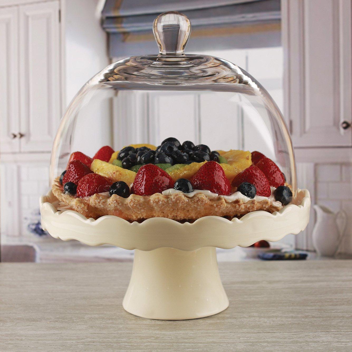 Circleware 55144 Dolche Torta Cream Ceramic Cake Plate with Round Dome-11