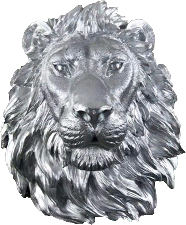 BUYYUB Handicraft Statue, Large Lion Head Decoration Wall Hanging, Animal Head Resin Pendant Wall Decoration Home Decoration (Cor : Silver)