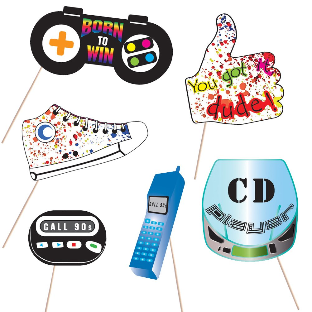 90's Throwback Party Decoration 1990s Party Photo Booth Props Kit 1990's Party Supplies- 37 Count by Hondar (Image #5)