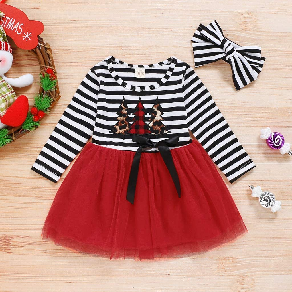 zxcvb Toddler Infant Baby Girls Christmas Tree Cartoon Striped Print Tulle Dress+Headband Outfits