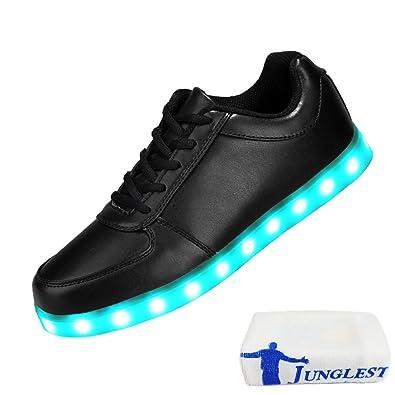 (Present:kleines Handtuch)Klettband Weiß High-Top EU 44, USB (TM) 7 Unisex-Erwachsene Farbe Sneaker Schuhe Turnschuhe Sport Damen LED Leuchtend Herren für mode