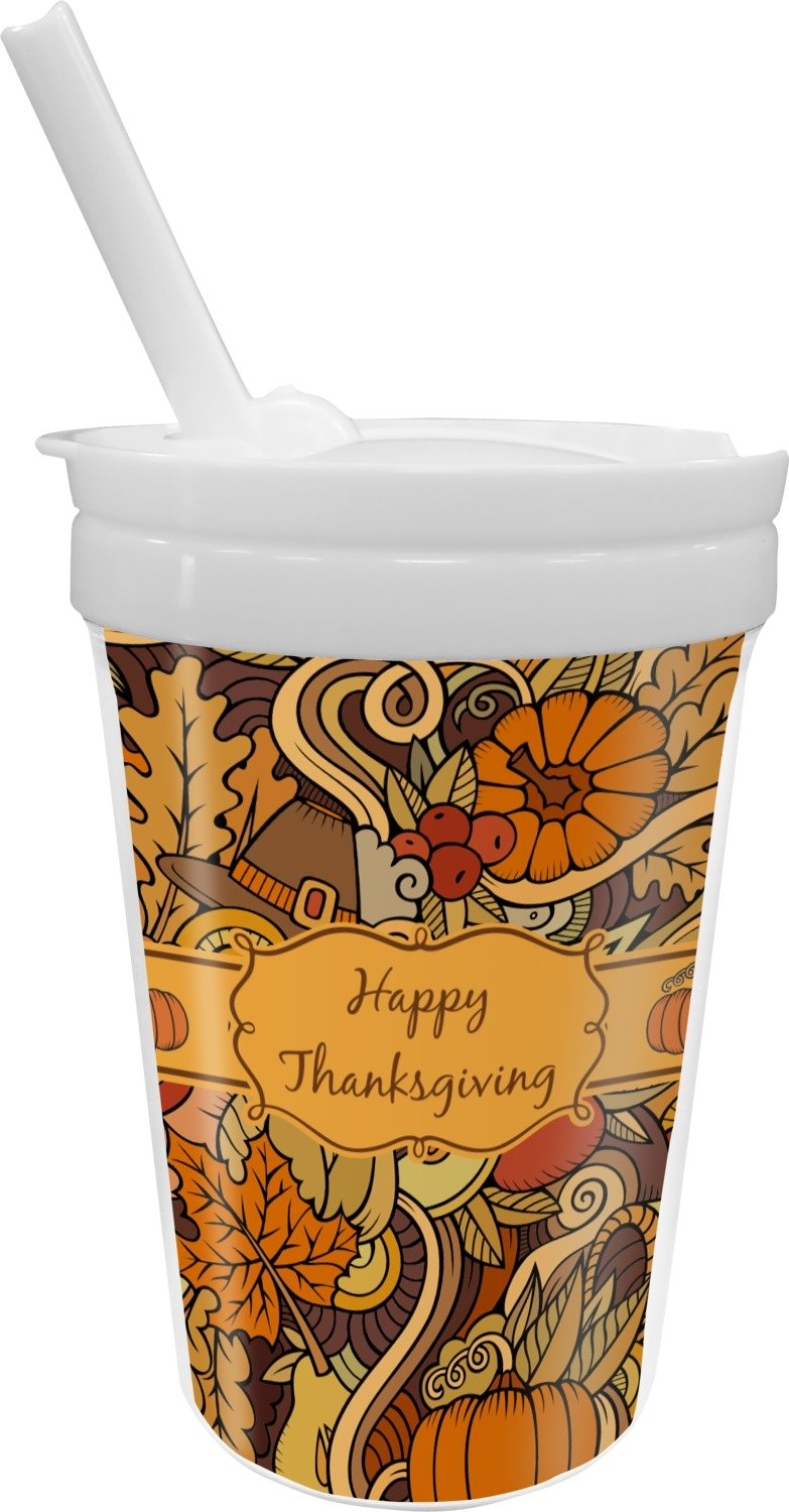 Thanksgiving Sippy Cup with Straw (Personalized)