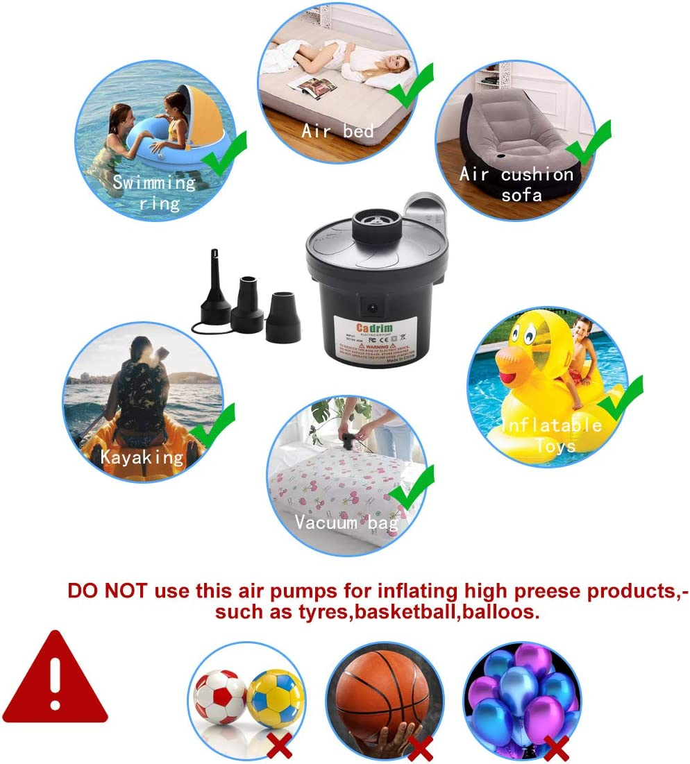 Cadrim Electric Air Pump Camping Electric Pumps Inflator//Deflator for airbeds paddling pools,toys with 3 Nozzles AC240V/&DC12V//40W