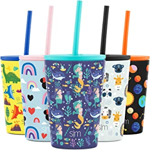 Simple Modern Kids Insulated Water Bottle Cup with Straw Stainless Steel Flask Metal Thermos for Toddlers Boys and Girls, 12oz Tumbler, Happy Mermaids