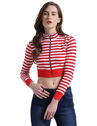 f1931336d0b4a TEXCO Red and White Striped Women Crop Tops  Amazon.in  Clothing    Accessories